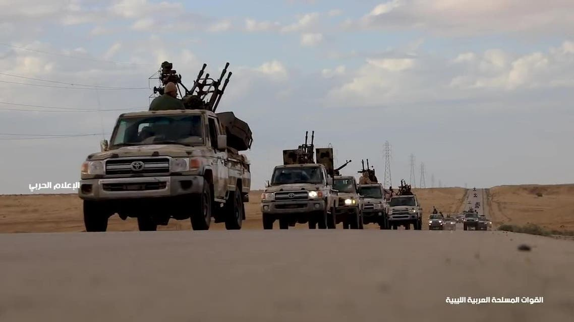 This grab obtained from a video published on Khalifa Haftar's Libyan National Army War Information Division's Facebook page on April 3, 2019, allegedly shows military convoys heading toward western Libya and Tripoli. (AFP)