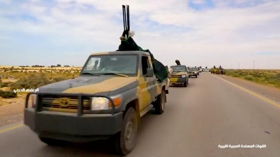 Eastern forces allied to Libyan military commander Khalifa Haftar on the road to Tripoli on April 4, 2019. (Image from Reuters TV).