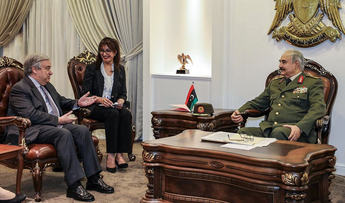 Libyan strongman Khalifa Haftar (R) meeting with UN Secretary General Antonio Guterres (L), at Haftar's office in the Rajma military, base 25 kilometres east of Libya's second city of Benghazi. (AFP)
