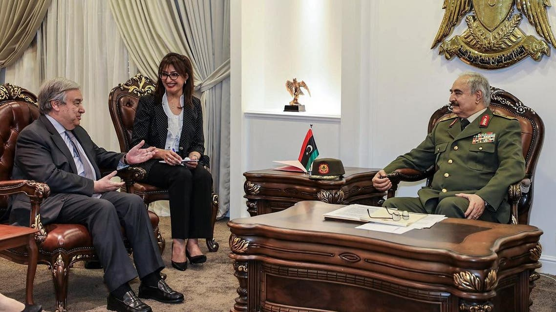 Haftar (R) meeting with UN Secretary General Antonio Guterres (L), at Haftar's office in the Rajma military, base east of Libya's second city of Benghazi. (File photo: AFP)