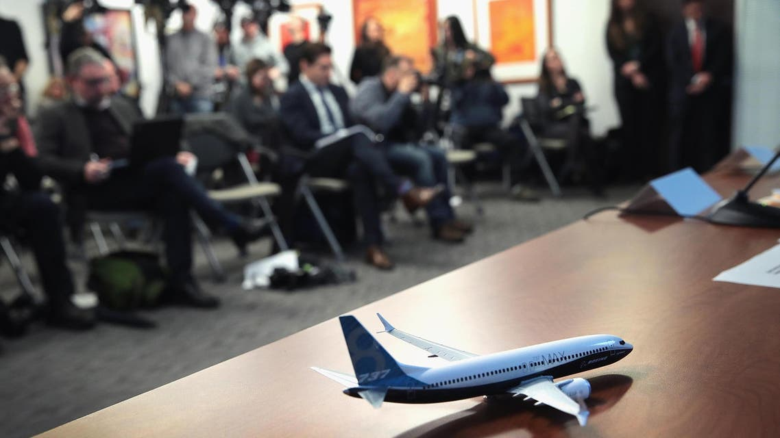 A model of Boeing 737 Max 8 is on the table as attorneys and family members of an Ethiopian Airlines Flight 302 victim hold a press conference in Chicago on April 04, 2019. (AFP)
