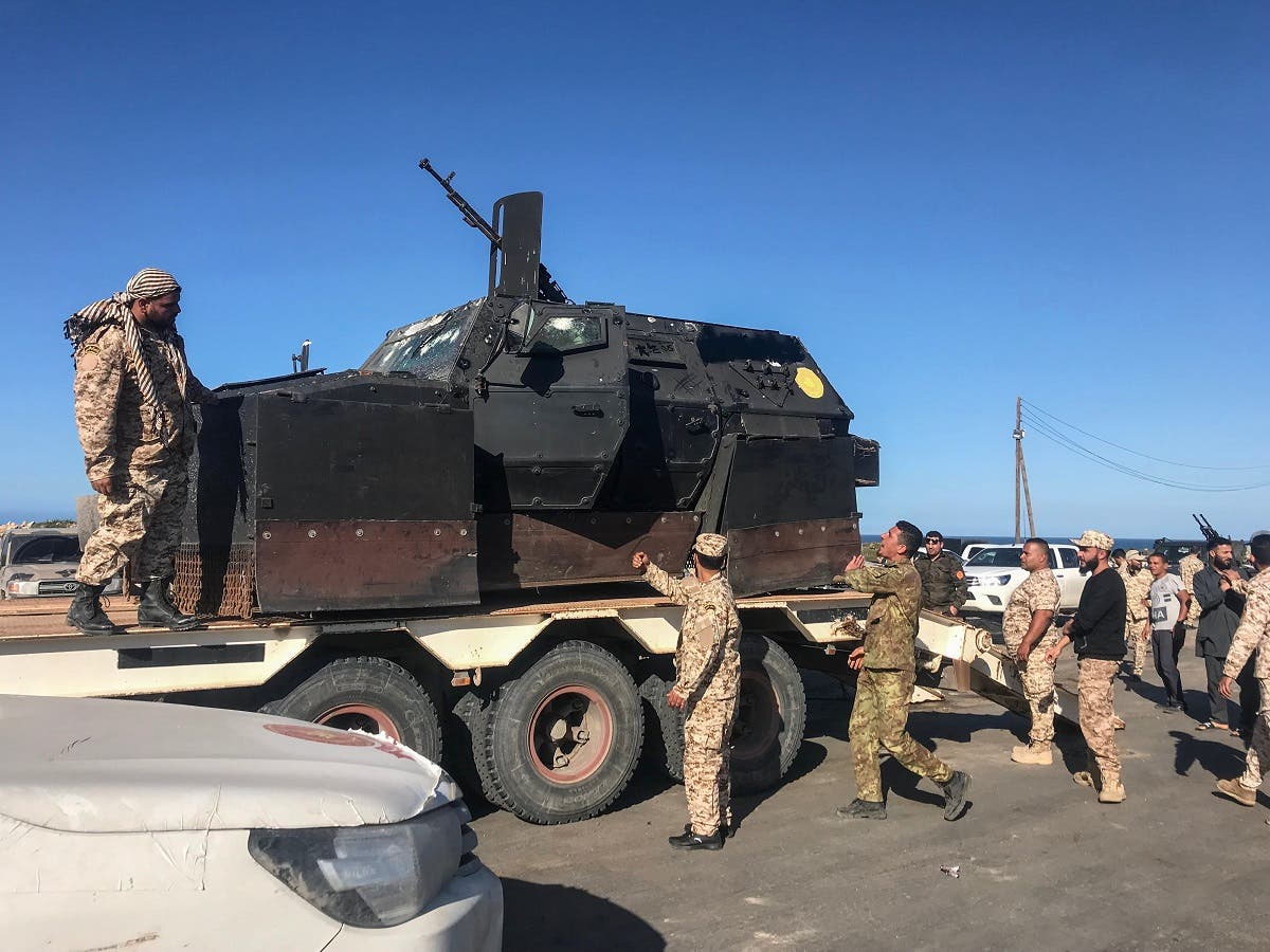 Forces loyal to Libya's UN-backed unity government arrive in Tajura, a coastal suburb of the Libyan capital Tripoli, on April 6, 2019, from their base in Misrata. (AFP)