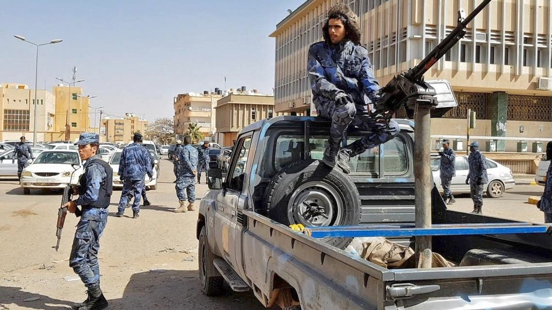 An image grab taken from a video from AFPTV, on February 6, 2019, shows Forces loyal to Libyan strongman Khalifa Haftar patroling in downtown Sebha, the biggest city in southern Libya. (AFP)