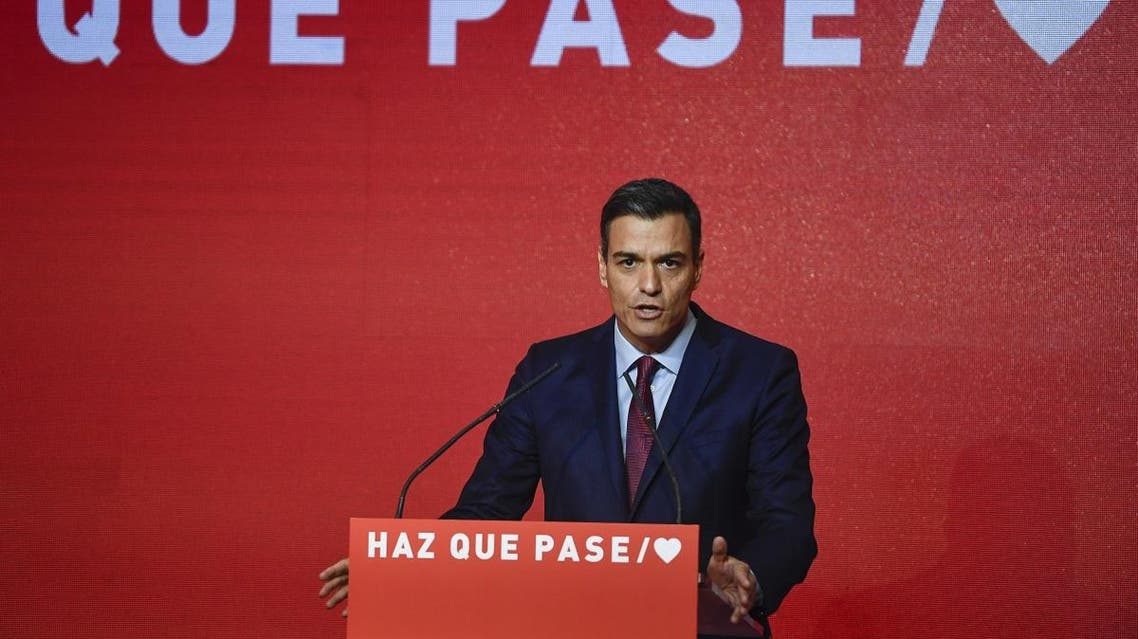Spanish Prime Minister Pedro Sanchez gives a speech during the presentation of the Socialist Party (PSOE) electoral campaign in Madrid on April 2, 2019. (AFP)