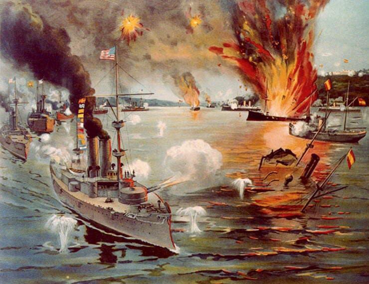 رسم تخيلي لإحدى المعارك البحرية بالحرب الأميركية الإسبانية