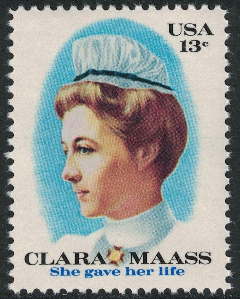 طابع بريدي أميركي يحمل صورة الممرضة كلارا ماس