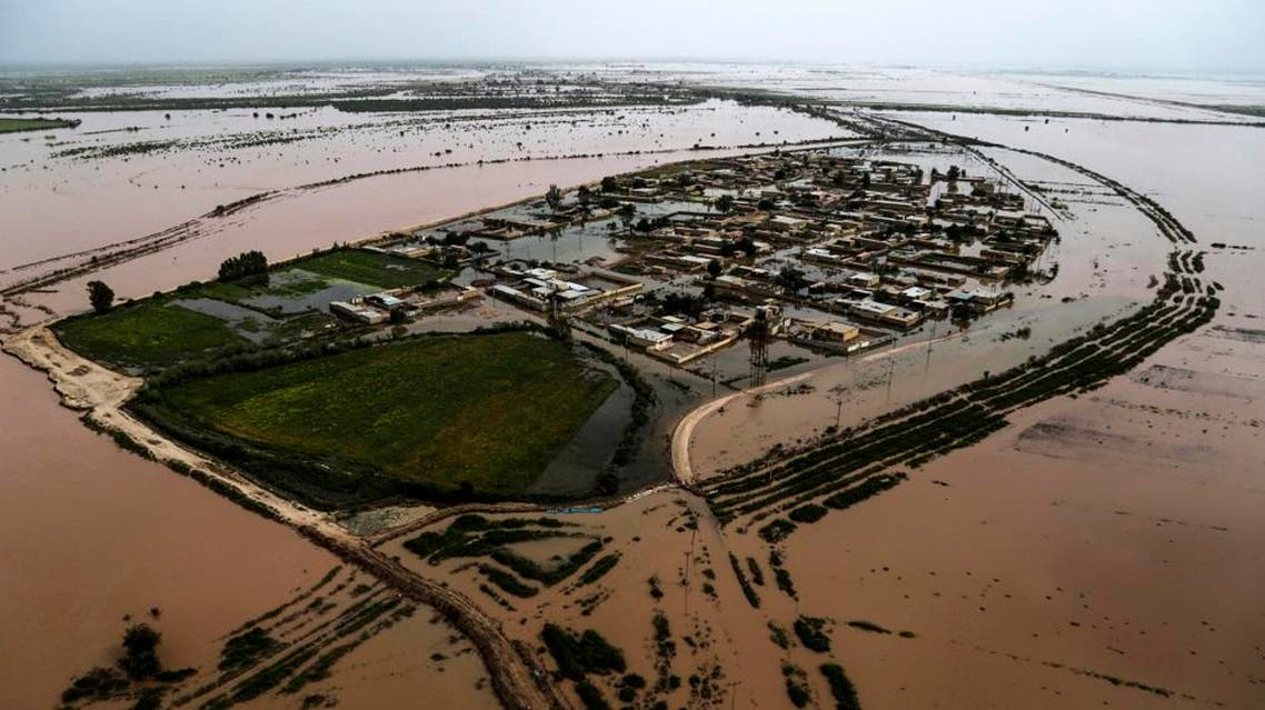 A general view shows the flooded village of Bamdzeh in Iran's Khuzestan province on April 5, 2019. (AFP)