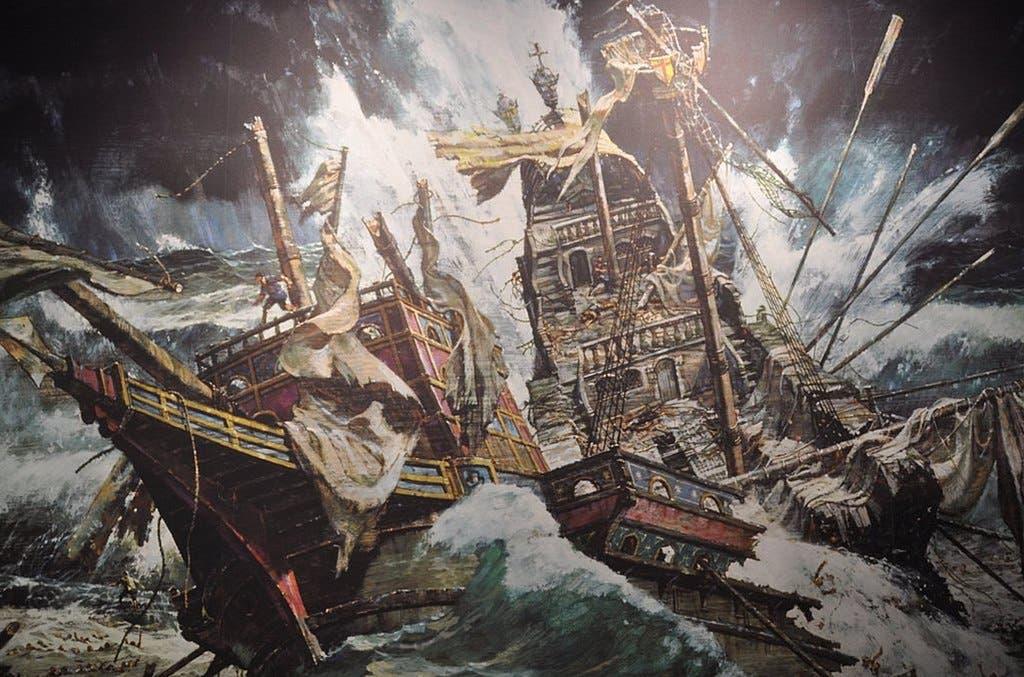 رسم تخيلي لسفينة إسبانية تحطمت بسبب سوء الأحوال الجوية عام 1588