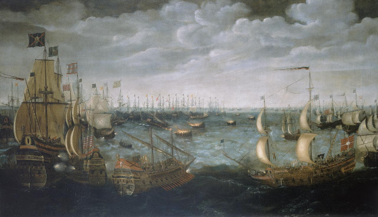 صورة للمواجهة بين الإسبان والإنجليز قرب كاليه