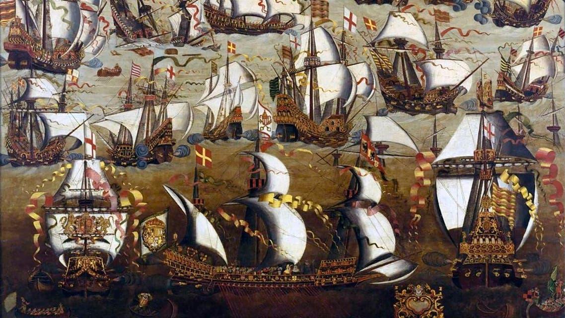 رسم تخيلي للمواجهة بين الإنجليز والإسبان عام 1588