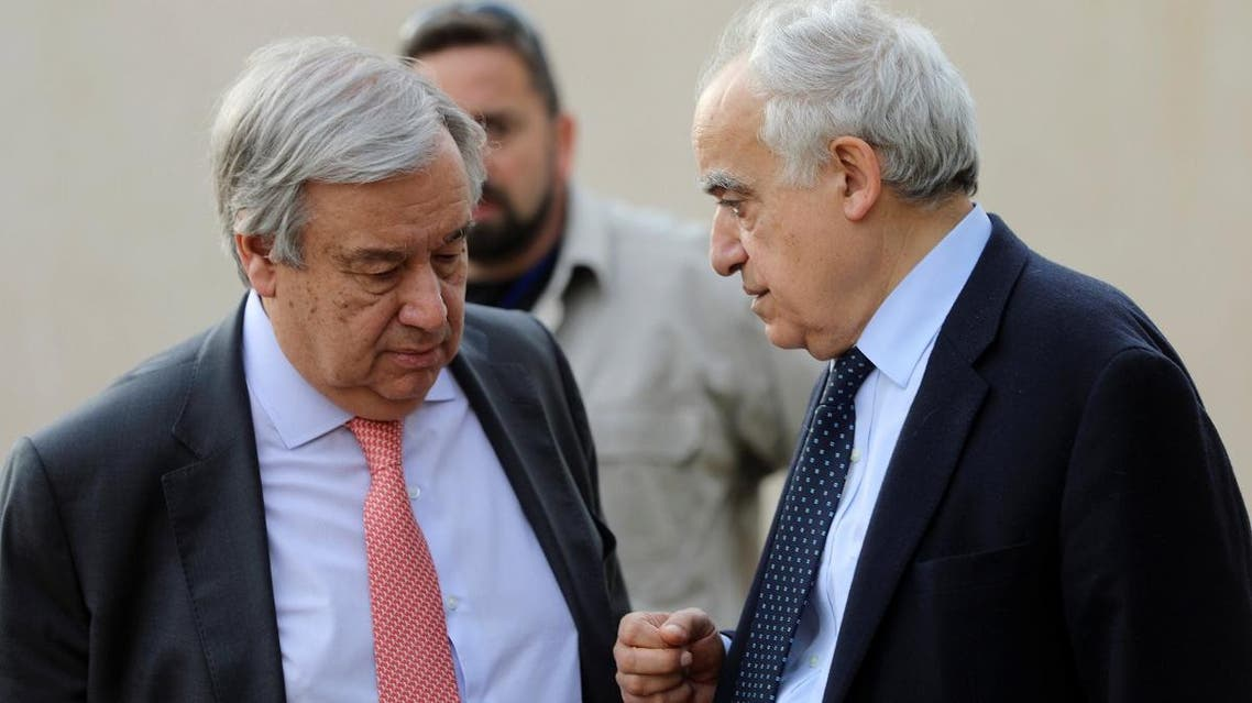 Secretary General of the United Nations Antonio Guterres talks with the U.N. Envoy for Libya Ghassan Salame in Tripoli, Libya April 4, 2019. (Reuters)