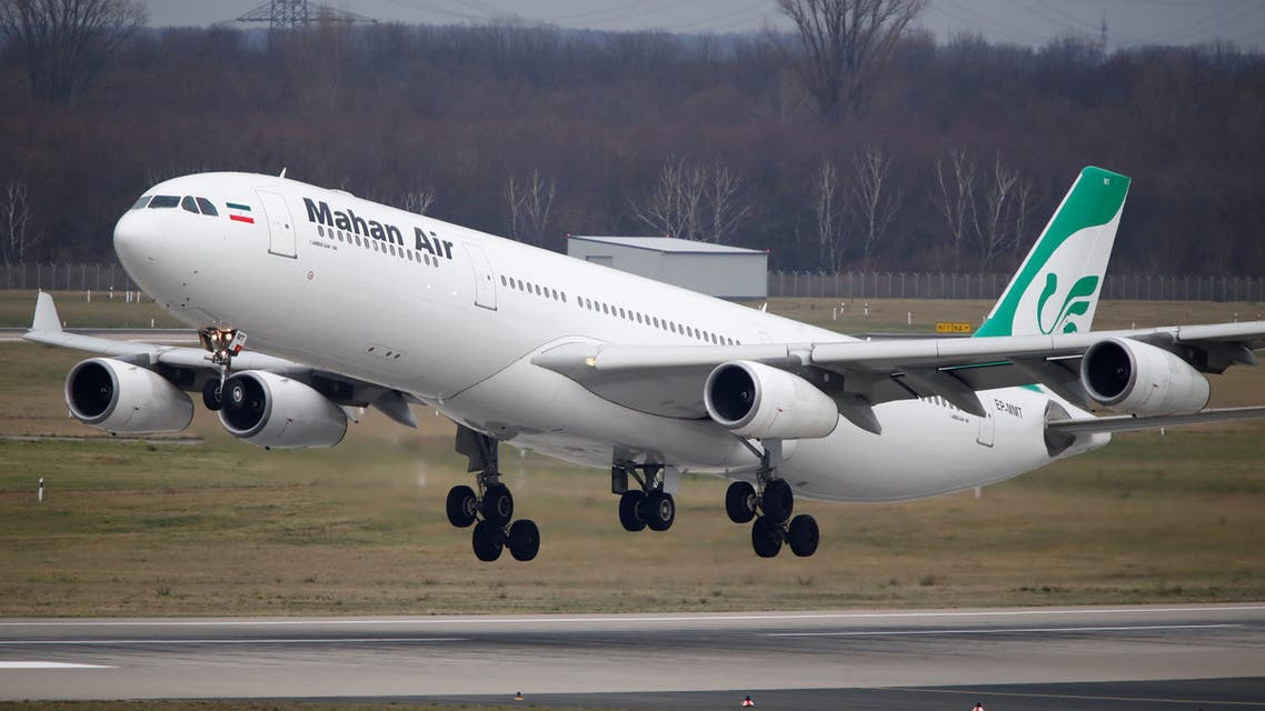 FILE PHOTO: An Airbus A340-300 of Iranian airline Mahan Air takes off from Duesseldorf airport DUS, Germany January 16, 2019. Picture taken January 16, 2019. REUTERS/Wolfgang Rattay/File Photo