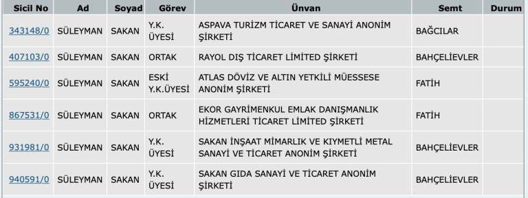 شركات سليمان ساكان في تركيا