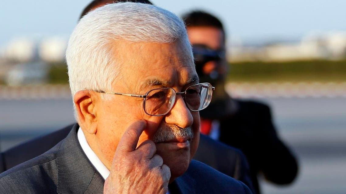 Palestinian President Mahmoud Abbas, gestures upon his arrival at Tunis-Carthage international airport to attend the Arab Summit, in Tunis, Tunisia, Saturday, March 30, 2019. (AP)