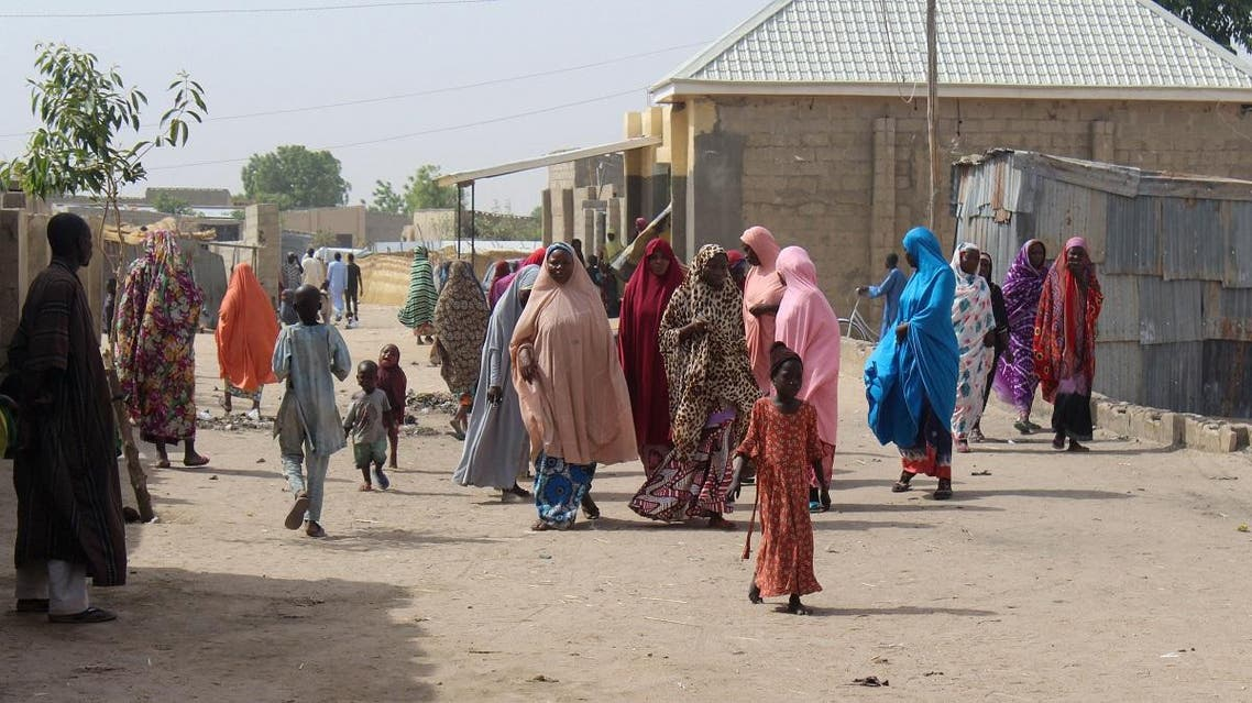 Residents are seen walking in Maiduguri, northeastern Nigeria. (AFP)