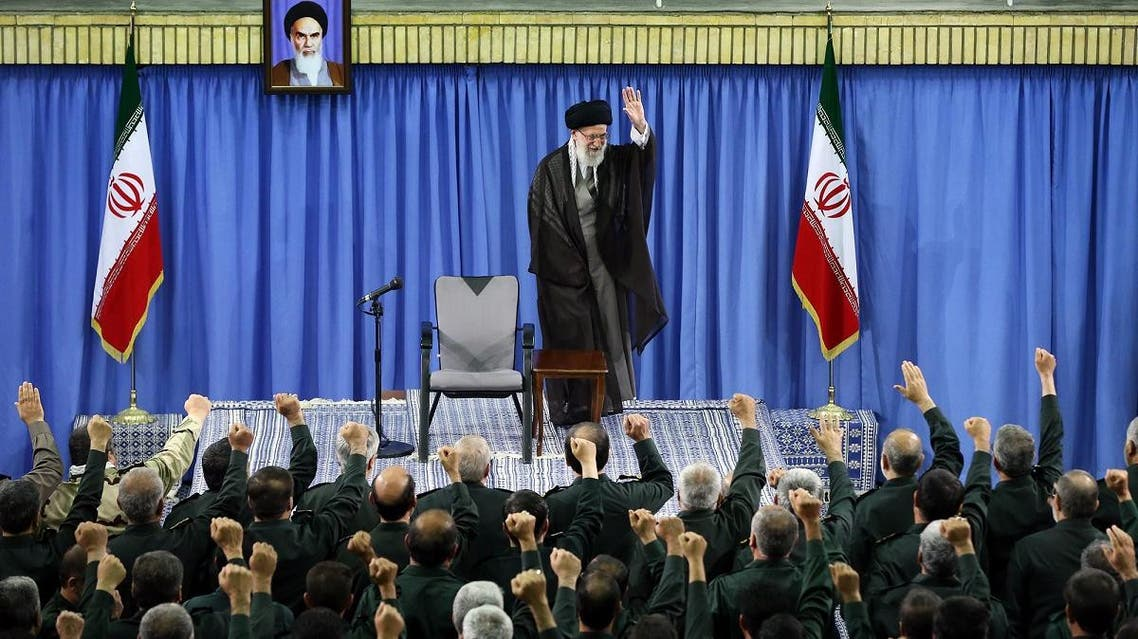 A file photo of Iran's supreme leader Ayatollah Ali Khamenei, shows him waving to the commanders of Revolutionary Guards during a meeting in Tehran. (AFP)