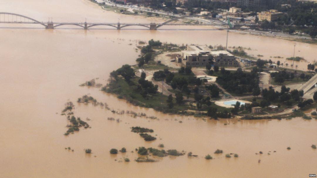 تصویر هوایی از رودخانه کارون در شهر اهواز