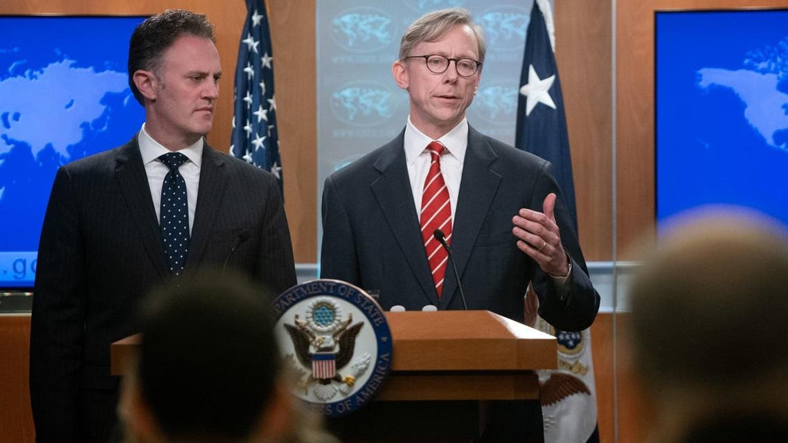 Brian Hook (R), US Special Representative for Iran, and Ambassador Nathan Sales (L), State Department Coordinator for Counterterrorism, speak at a press conference. (AFP)