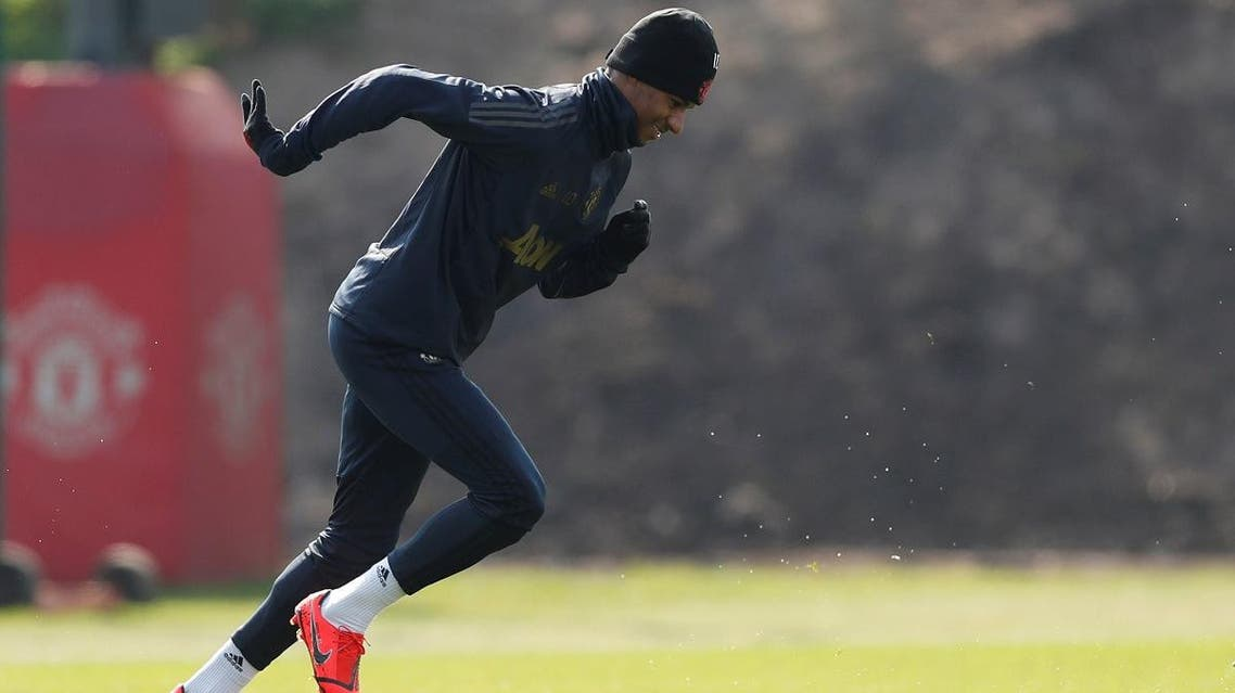 Manchester United striker Marcus Rashford during training. (Reuters)