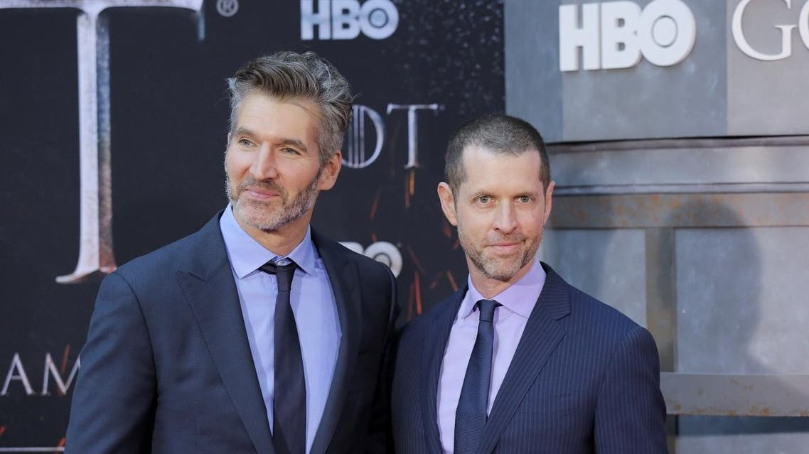 """David Benioff and D.B. Weiss arrive for the premiere of the final season of """"Game of Thrones"""" at Radio City Music Hall in New York, US, on April 3, 2019. (Reuters)"""
