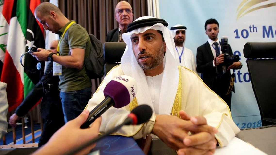 UAE Energy Minister Suhail bin Mohammed al-Mazroui talks to the media at the OPEC Ministerial Monitoring Committee in Algiers, Algeria. (File photo: Reuters)