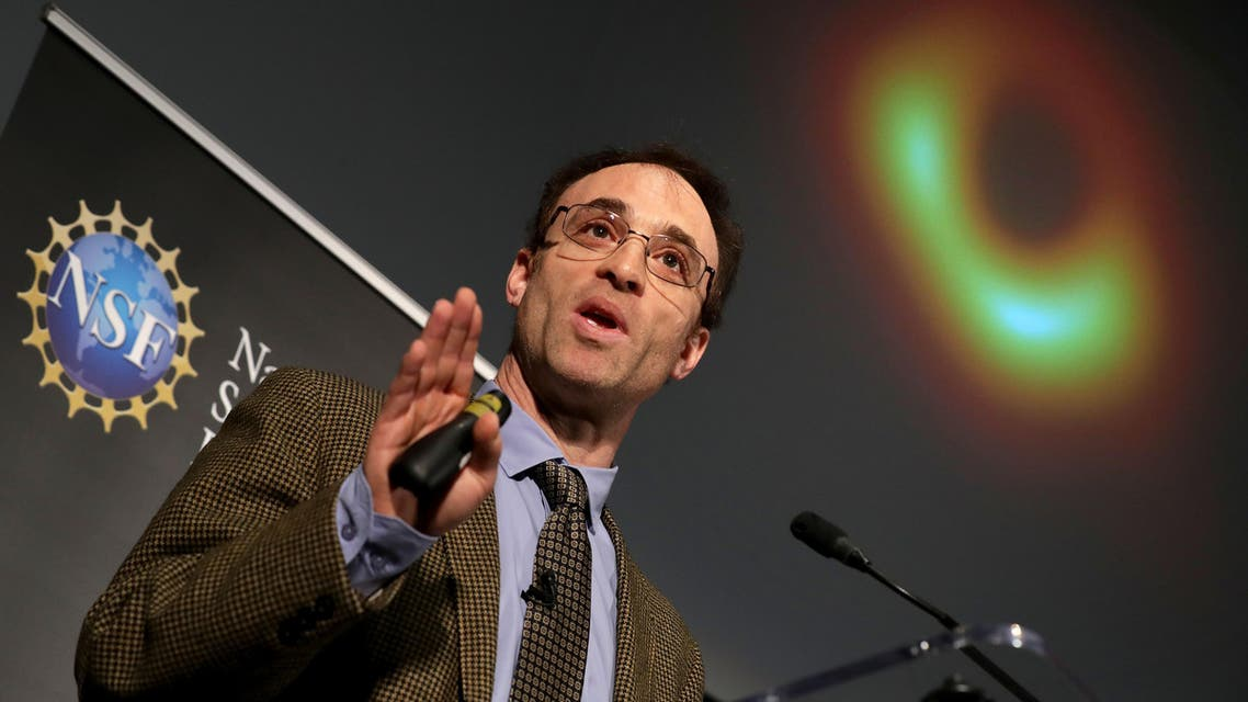 Event Horizon Telescope Director Sheperd Doeleman reveals the first photograph of a black hole on April 10, 2019. (AFP)