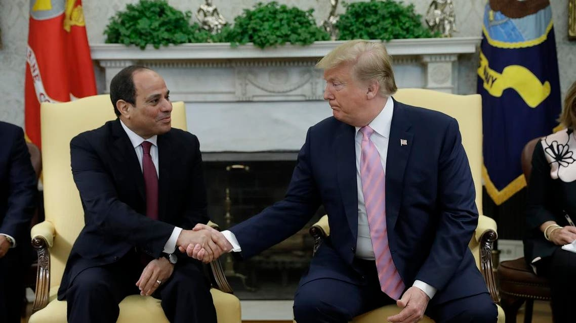 Donald Trump and Abdelfattah el-Sisi at the White House. (AFP)