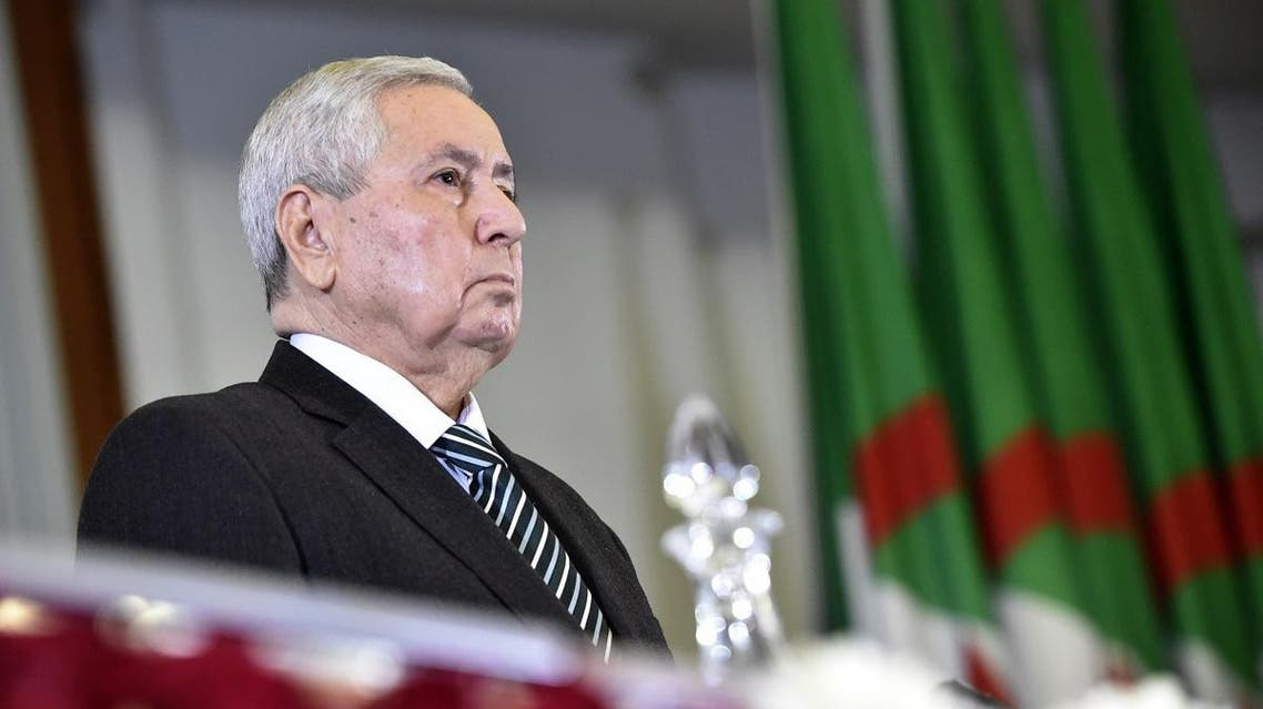 Algerian speaker of the upper house of parliament, Abdelkader Bensalah, is pictured during a parliamentary session at the Palais des Nations in the Algerian capital Algiers on April 9, 2019. (AFP)