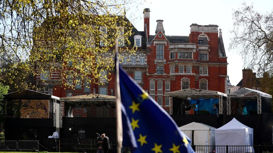 Media tents are pictured on Abingdon Green, as uncertainty over Brexit continues, in central London, on April 10, 2019. (Reuters)