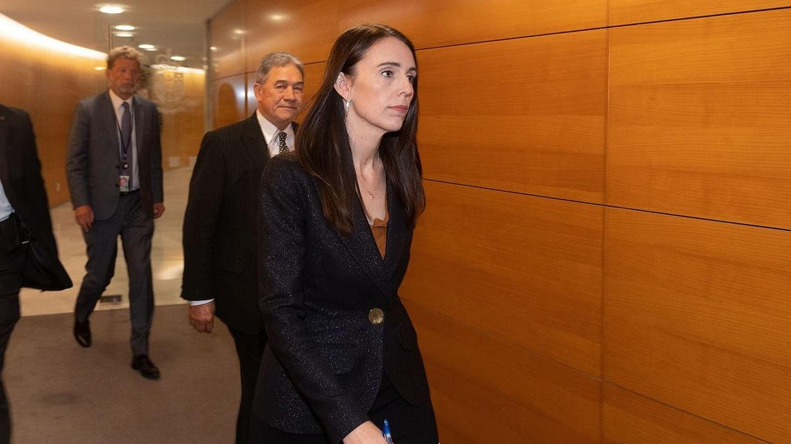 New Zealand Prime Minister Jacinda Ardern arrives for her post cabinet press conference at Parliament in Wellington on March 25, 2019.  (AFP)
