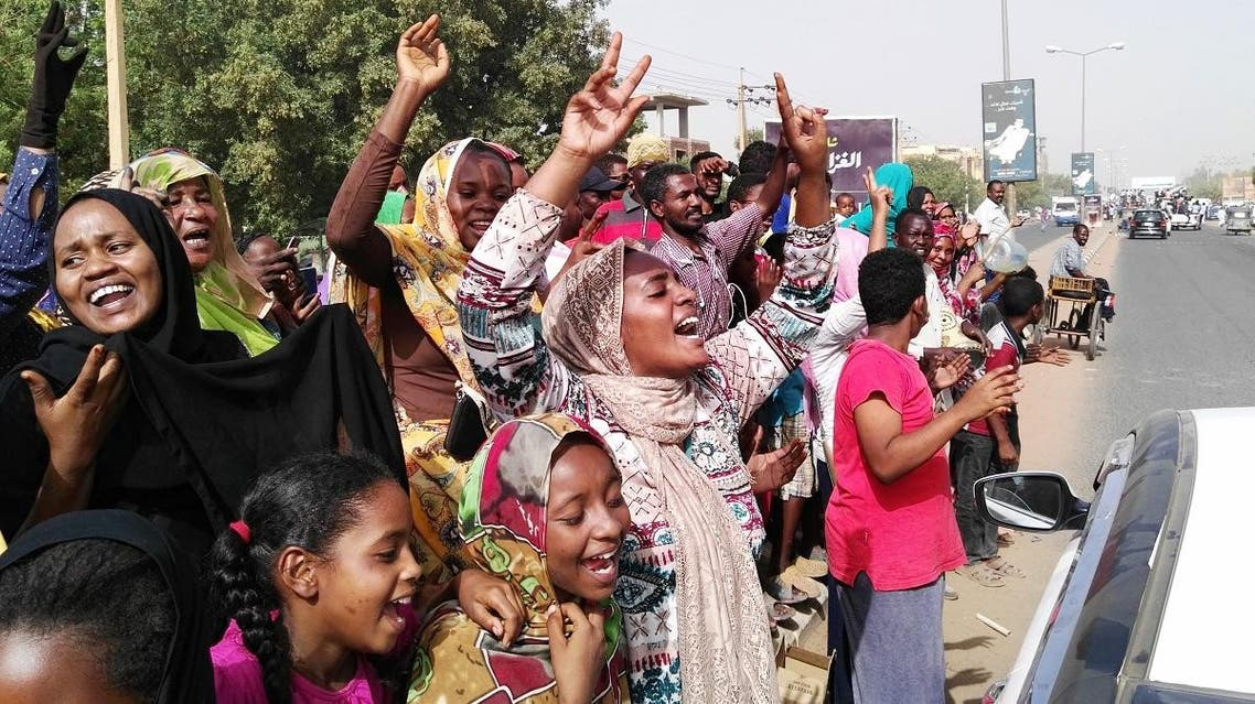 """A massive crowd of jubilant Sudanese people thronged squares and streets of central Khartoum ahead of an """"important announcement"""" by the army. (AFP)"""