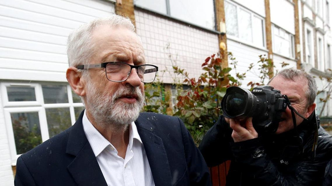 British opposition Labour Party leader Jeremy Corbyn leaves his home in London. (Reuters)