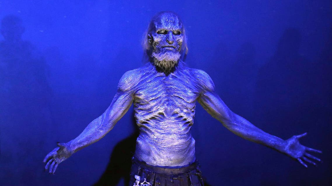 A White Walker on display during the launch of The Game of Thrones Touring Exhibition in Belfast on April 10, 2019. (AP)