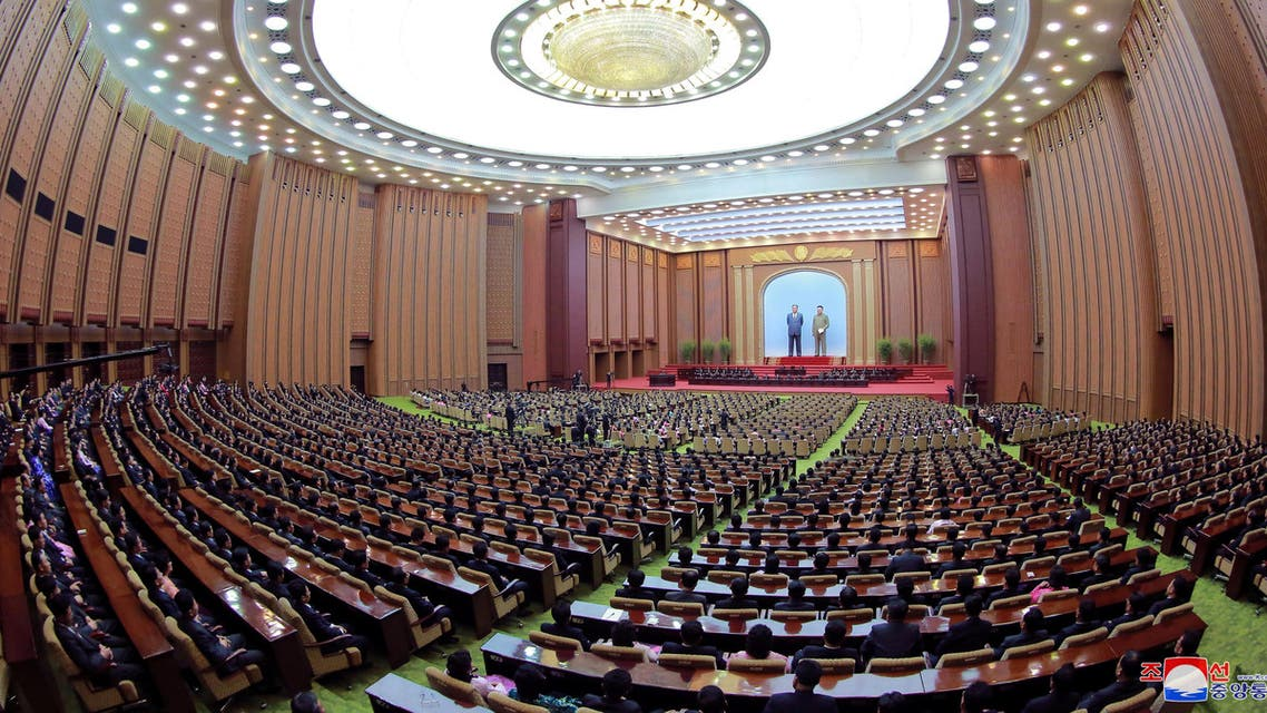 General view of the 14th Supreme People's Assembly of the Democratic People's Republic of Korea held at the Mansudae Assembly Hall in Pyongyang April 11, 2019 photo released on April 12, 2019 by North Korea's Korean Central News Agency (KCNA). KCNA via REUTERS ATTENTION EDITORS - THIS IMAGE WAS PROVIDED BY A THIRD PARTY. REUTERS IS UNABLE TO INDEPENDENTLY VERIFY THIS IMAGE. NO THIRD PARTY SALES. SOUTH KOREA OUT. NO COMMERCIAL OR EDITORIAL SALES IN SOUTH KOREA.