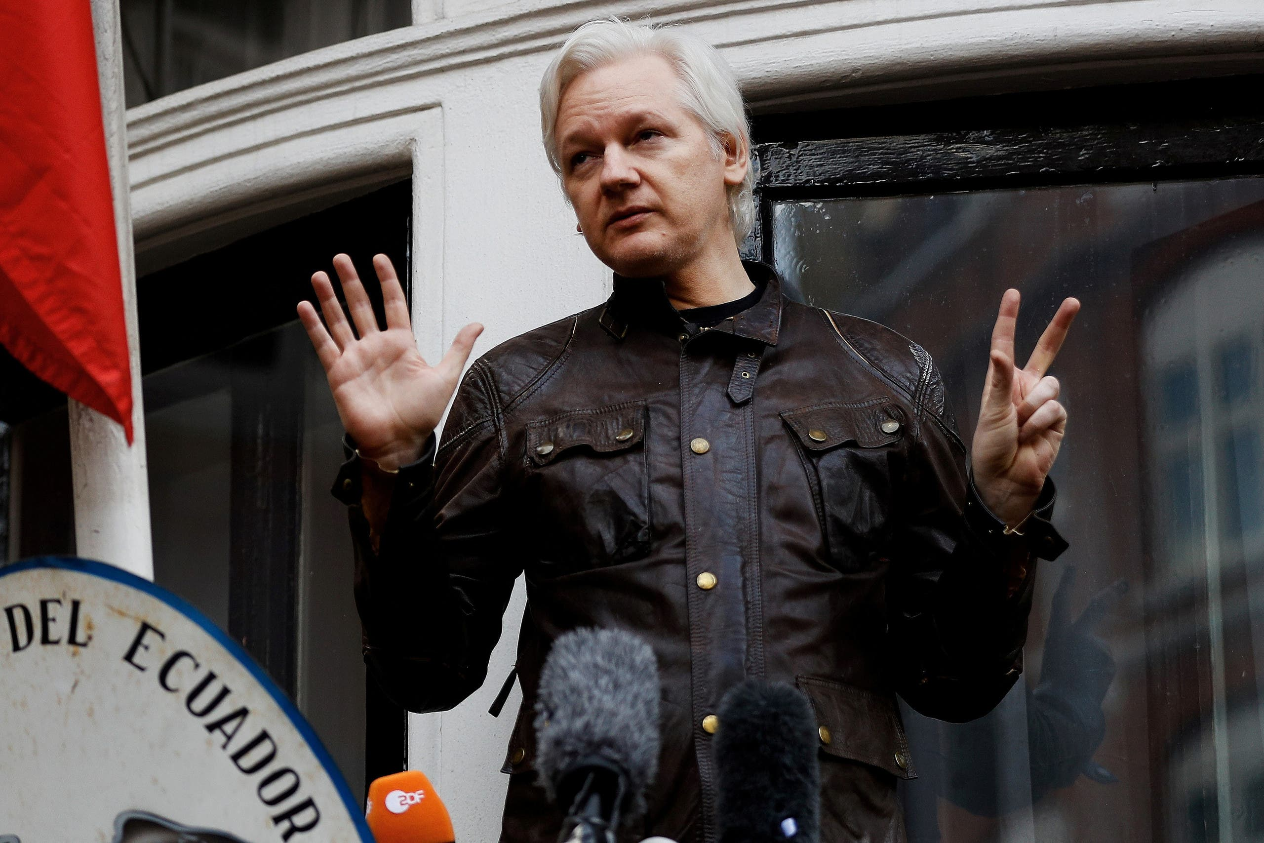 WikiLeaks founder Julian Assange is seen on the balcony of the Ecuadorian Embassy in London, Britain, on May 19, 2017.(Reuters)
