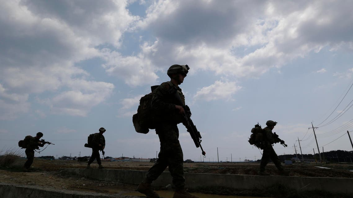 U.S. Marines from 3rd Marine Expeditionary Force based Okinawa, Japan, march during the U.S.-South Korea joint military exercises (AP)