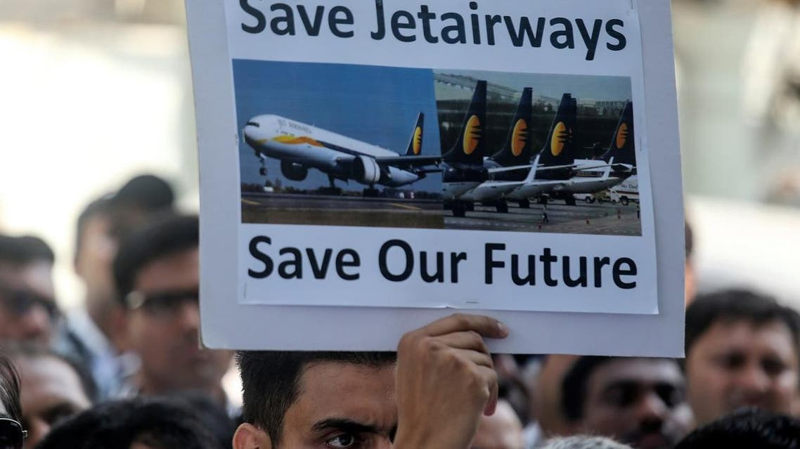 Jet Airways employees attend a protest demanding the release of their salaries outside company's headquarters in Mumbai, India, on April 12, 2019. (Reuters)