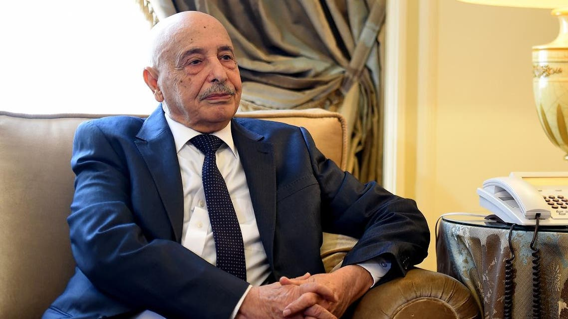 Libya's Parliament Speaker Aguila Salah Issa meets with Arab League's secretary general at the Arab League's headquarters in the Egyptian capital of Cairo on April 8, 2019. (AFP)