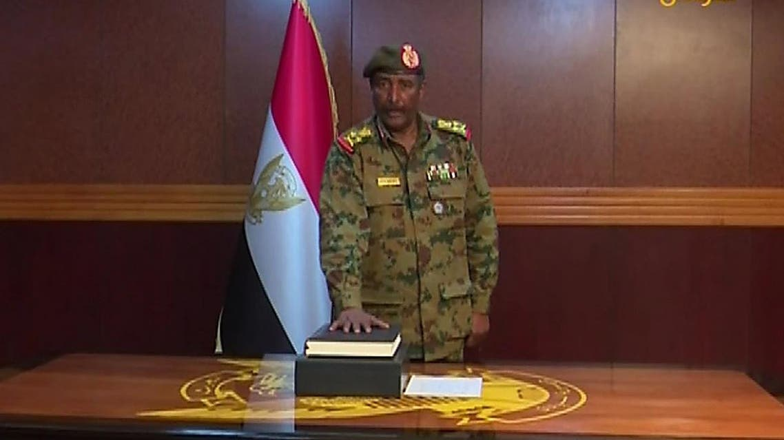A grab from a broadcast on Sudan TV shows Lieutenant General Abdel Fattah al-Burhan Abdulrahman taking oath on April 12, 2019 as chief of the new military council, in the capital Khartoum. (AFP)