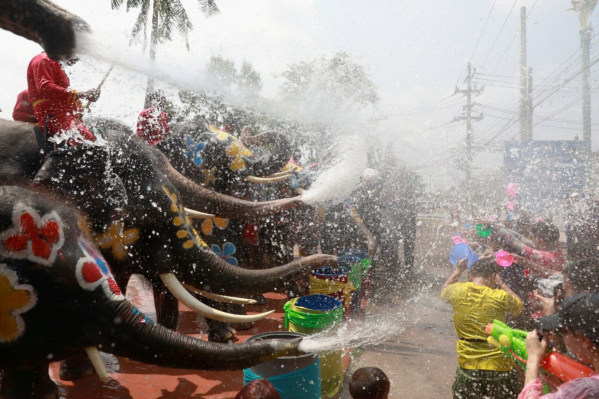 Elephants and people play with water as part of celebrations for the water festival of Songkran, which marks the start of the Thai New Year in Ayutthaya, Thailand. (Reuters)