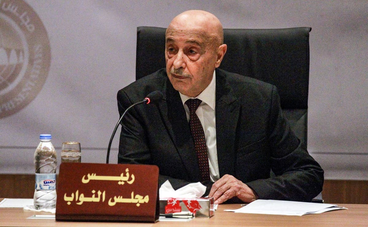1 Aguila Saleh Issa, speaker of Libya's fomerly-Tobruk-based House of Representatives which was elected in 2014, chairs the first session for the assembly at its new headquarters in the second city of Benghazi in the eastern part of the country on April 13, 2019. (AFP)