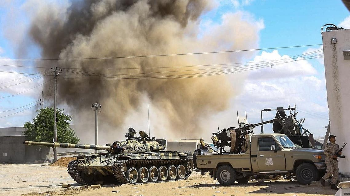 Forces loyal to Libya's Government of National Accord (GNA), during clashes in the suburb of Wadi Rabie about 30 kilometres south of the capital Tripoli on April 12, 2019. (AFP)