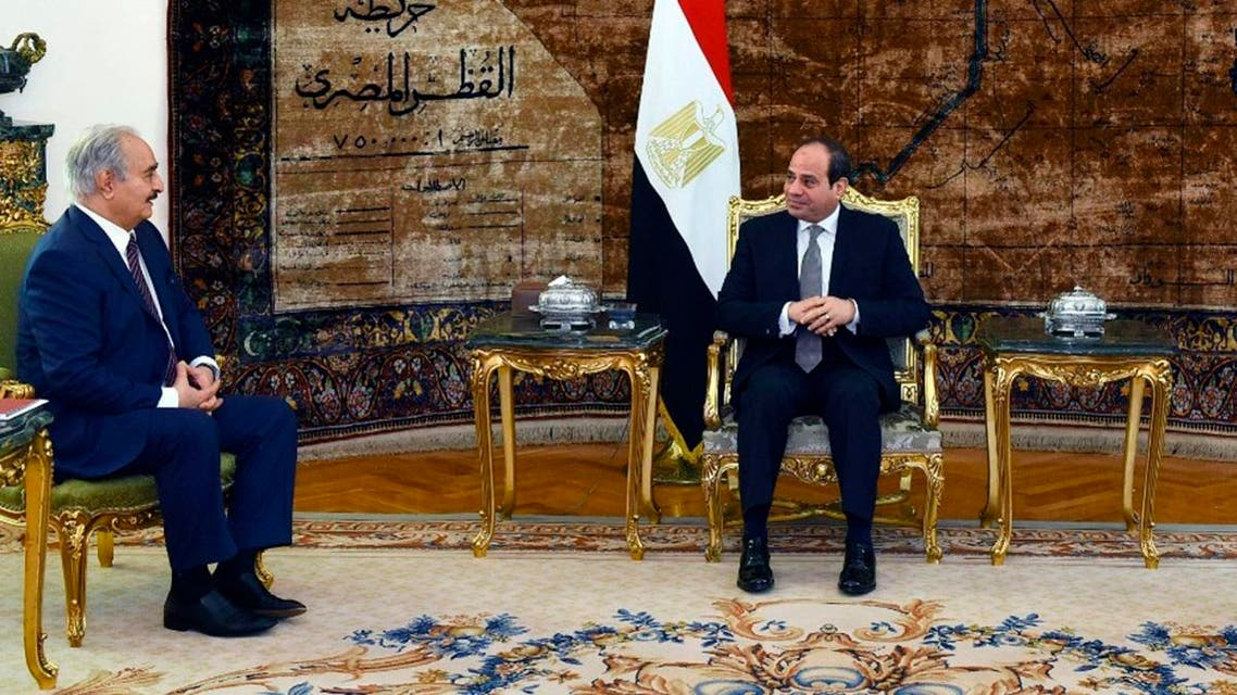Egyptian President Abdel-Fattah el-Sisi meets with the head of the self-styled Libyan National Army Field Marshal Khalifa Hafter in Cairo. (AP)