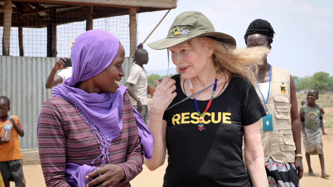 Mia Farrow visiting an internally displaced person's camp in Juba, South Sudan, on April 2, 2019. (AP)