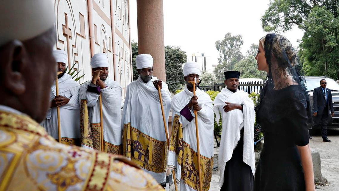 White House senior adviser Ivanka Trump, right, arrives for a ceremony honoring the victims of the Ethiopian Airlines crash, Monday April 15, 2019, in Addis Ababa, Ethiopia. (AP)