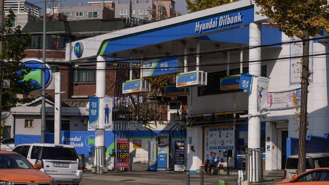 A photo taken on November 17, 2014, shows a Hyundai Oilbank petrol station in Seoul. (AFP)
