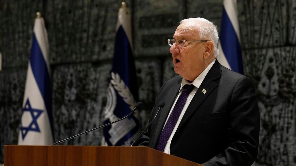 Israeli President Reuven Rivlin delivers a speech as he meets with leaders of Christian communities in Israel for the traditional annual reception to mark the civil New Year on December 27, 2018 at the presidential compound in Jerusalem. (AFP)