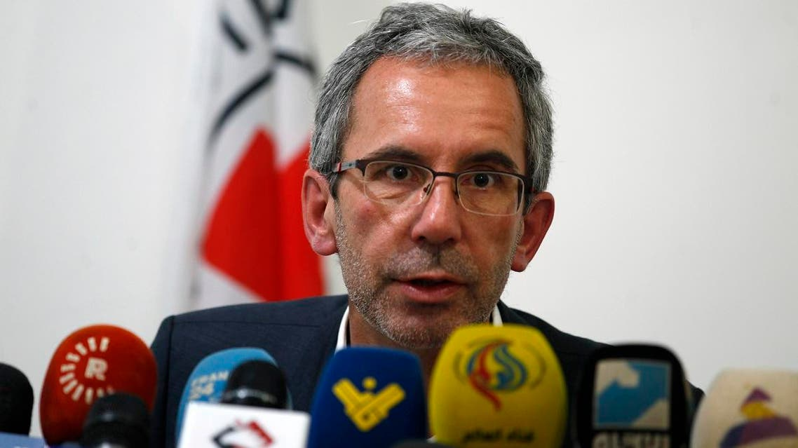 Dominik Stillhart, ICRC Director of Operations, speaks at a press conference. (AFP)