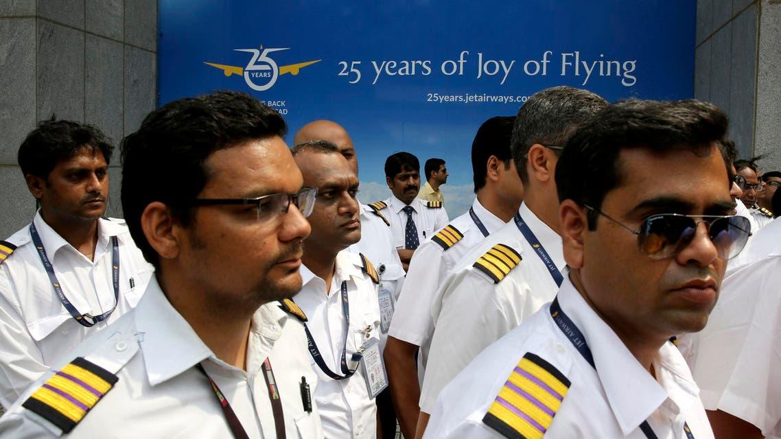 Employees of Jet Airways gather to demand clarification on unpaid salaries in Mumbai on April 15, 2019. (AP)
