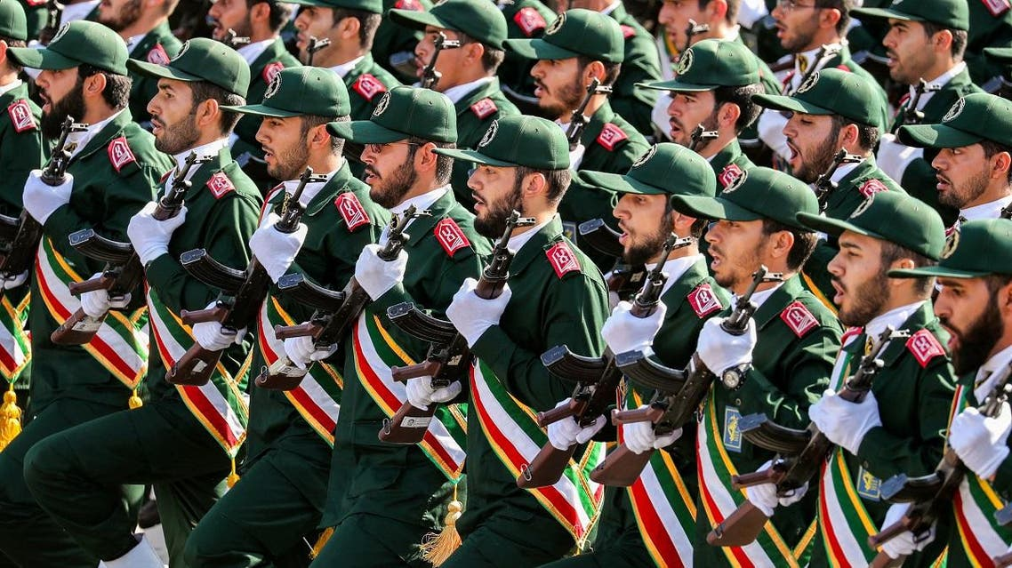 File photo of members of IRGC march during an annual military parade in Tehran. (AFP)